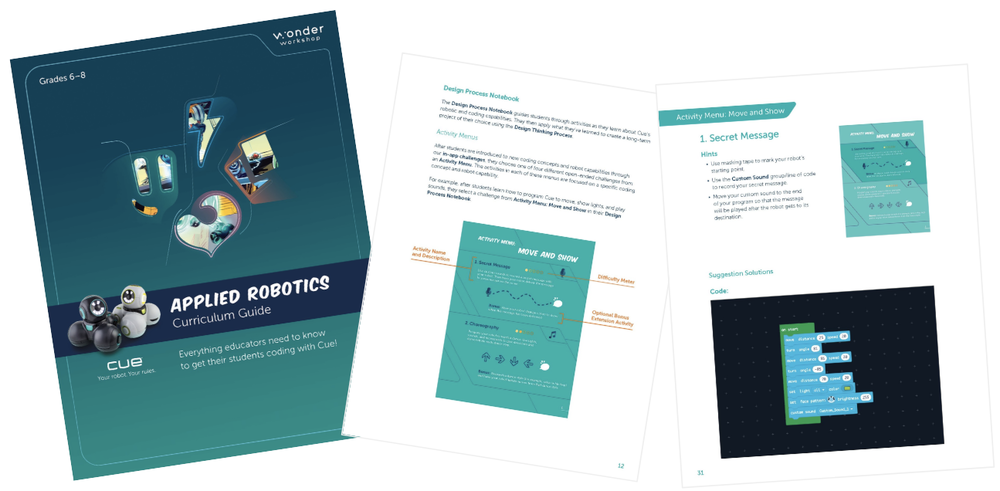 New! Cue Applied Robotics Curriculum Guide | Math