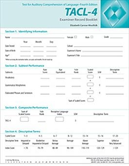 TACL-4: Examiner Record Booklet (25) | Special Education