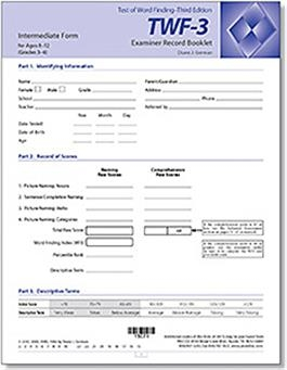 TWF-3 Intermediate Examiner Record Booklets (10)   Special Education
