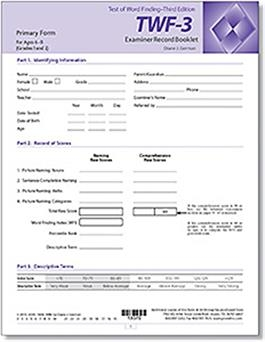 TWF-3 Primary Examiner Record Booklets (10) | Special Education